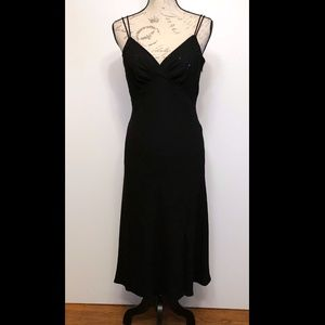 Black Spaghett strap, v-neck gown with sequence 8P